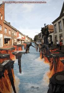 危ない!商店街の道路が真っ二つに裂けてる!! - 3D Street Art -