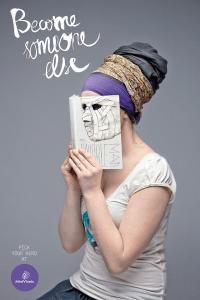 本の虫だと思ったら本が顔に! - Creative Bookstore Ads -