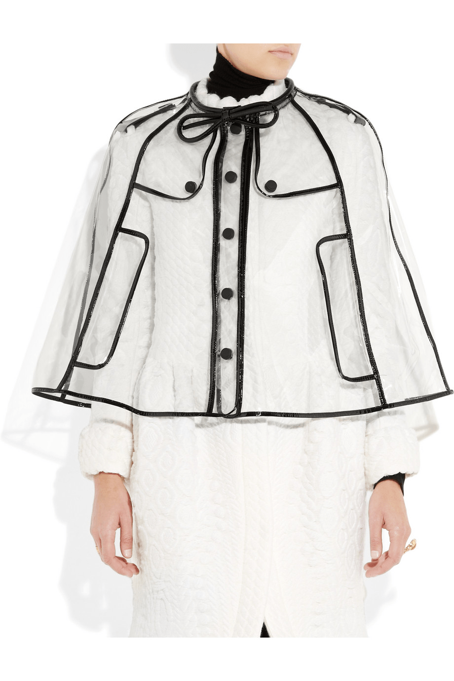 Patent leather-trimmed cape