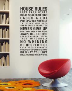 愛と幸せをもたらす我が家のルール - House Rules Vinyl Wall Stickers -