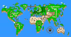 マリオの世界のような世界地図のTシャツ - The Plumber's Empire -