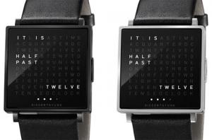 文章で時刻を伝えるあのオシャレ時計がついに腕時計に! - QLOCKTWO W Watch -