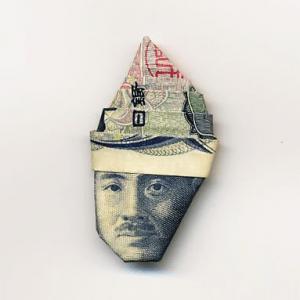 お札の顔を活かして作った折り紙アート - Moneygami -