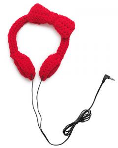 リボンがかわいい毛糸のヘッドホン - CROCHET BOW HEADPHONES -