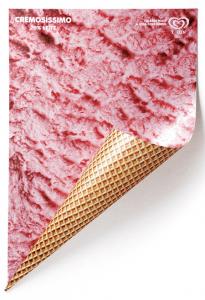 めくれ上がってこそ本領発揮のかわいいアイスクリームのポスター - Creative Ice-cream Ad -