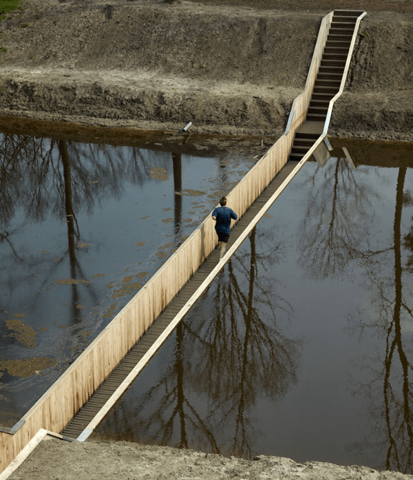 Sunken Bridge Allows Pedestrians to Walk Below Water
