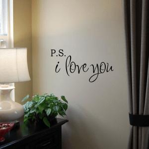 言葉にできない想いも壁を通して通じ合える P.S. アイラヴユー - PS I Love You Wall Decal -