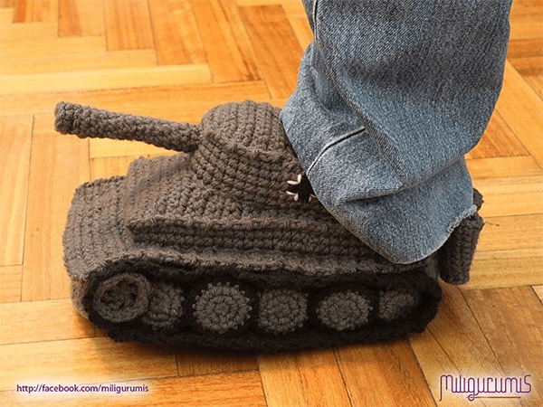 Panzer Tank Knit Slippers