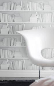 オシャレな部屋に大変身!壁一面が本棚になってしまう魔法の壁紙 - White Bookshelf Wallpaper -