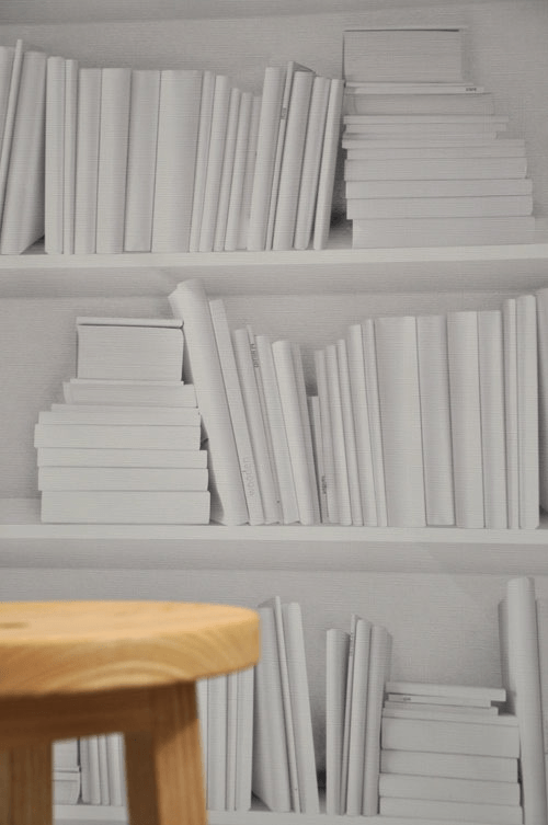 White Bookshelf Wallpaper
