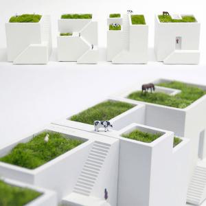 机の上に並べたい!家並みのようなミニチュア屋上庭園風のカワイイ盆景 - Metaphys Ienami -