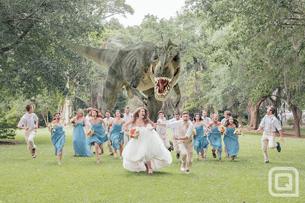 a Hungry T-Rex Chasing the Bridal Party