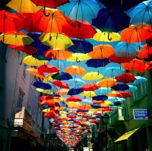 美しすぎる!カラフルな傘を空に敷きつめたあのポルトガルの商店街が今年も! - New Colorful Canopies of Umbrellas