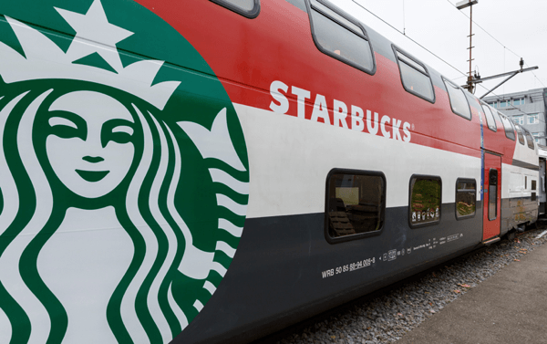Starbucks on a train with SBB