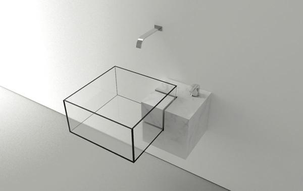 透明で栓がない!? 浮いているみたいな斬新なデザインの洗面台 - Minimalist Kub Basin