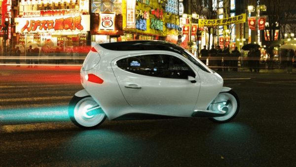 なんで倒れないの?? 横から車ぶつけられても転倒しない未来の電動バイク - C1