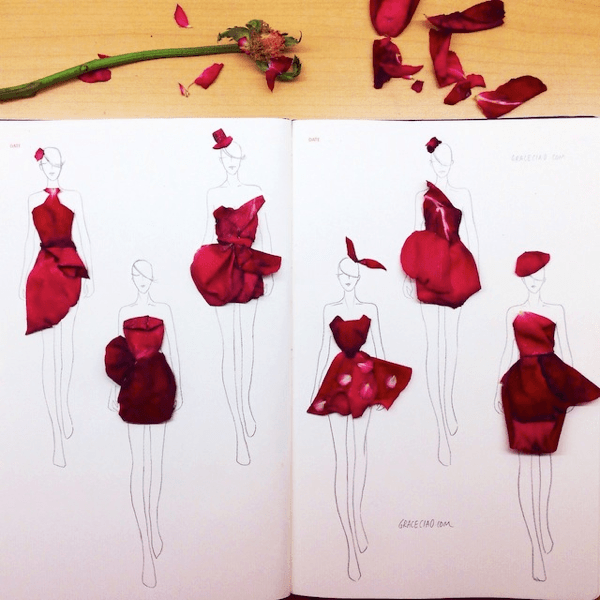 Creative Fashion Sketches With Flowers