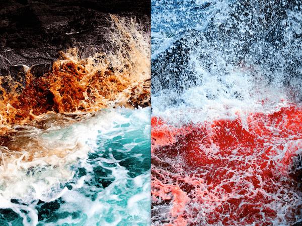 溺れてみたい。。美味しそうな色に染まってしまった海 - Dramatic Ocean Waves Crash