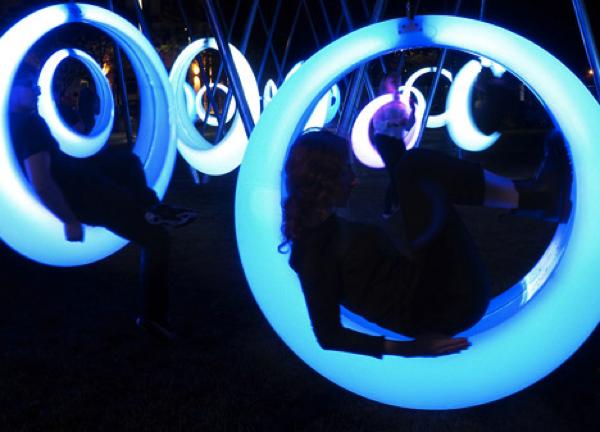 glowing sircular swings