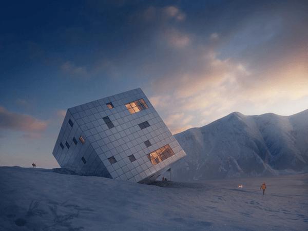 不時着したの?宇宙から降ってきたかのような仰天の山小屋 - Stunning Cube Hut