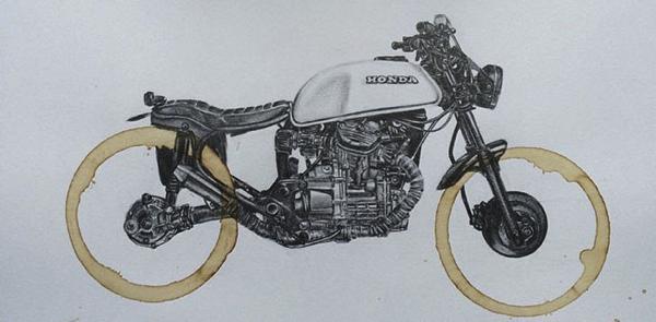 コーヒーのシミだから味がでる? カップの跡で描く車輪がおしゃれなバイクアート
