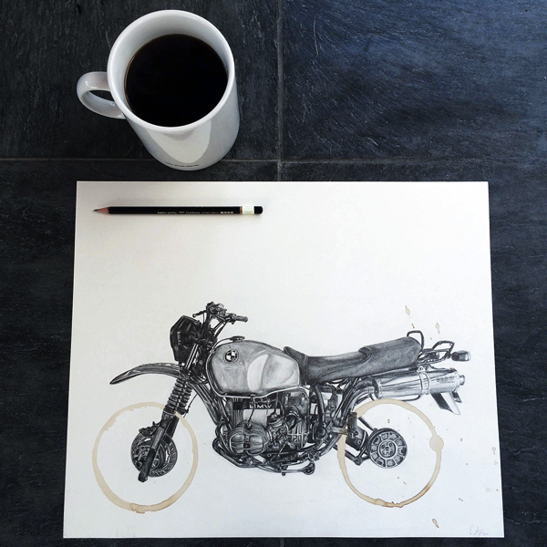 Coffee Stains Become Motorcycle Wheels