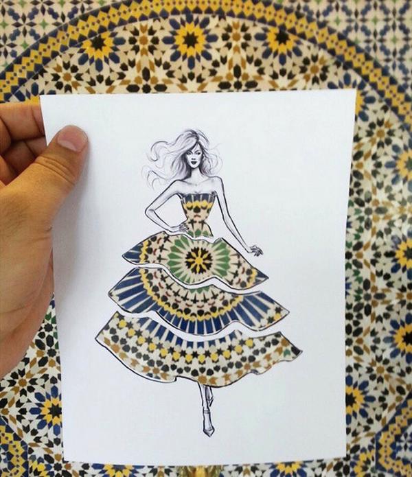 絶景に重ねたい!美しい景色をドレスにできるおしゃれなイラスト