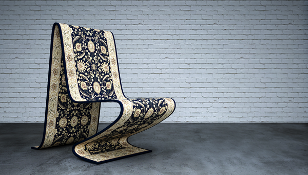どこかへ飛んでいってしまえそうな座れる魔法の絨毯がとてもユーモア