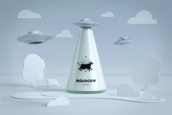 思わず手に取りたくなる!UFOに連れ去られる牛をイメージした牛乳ビン